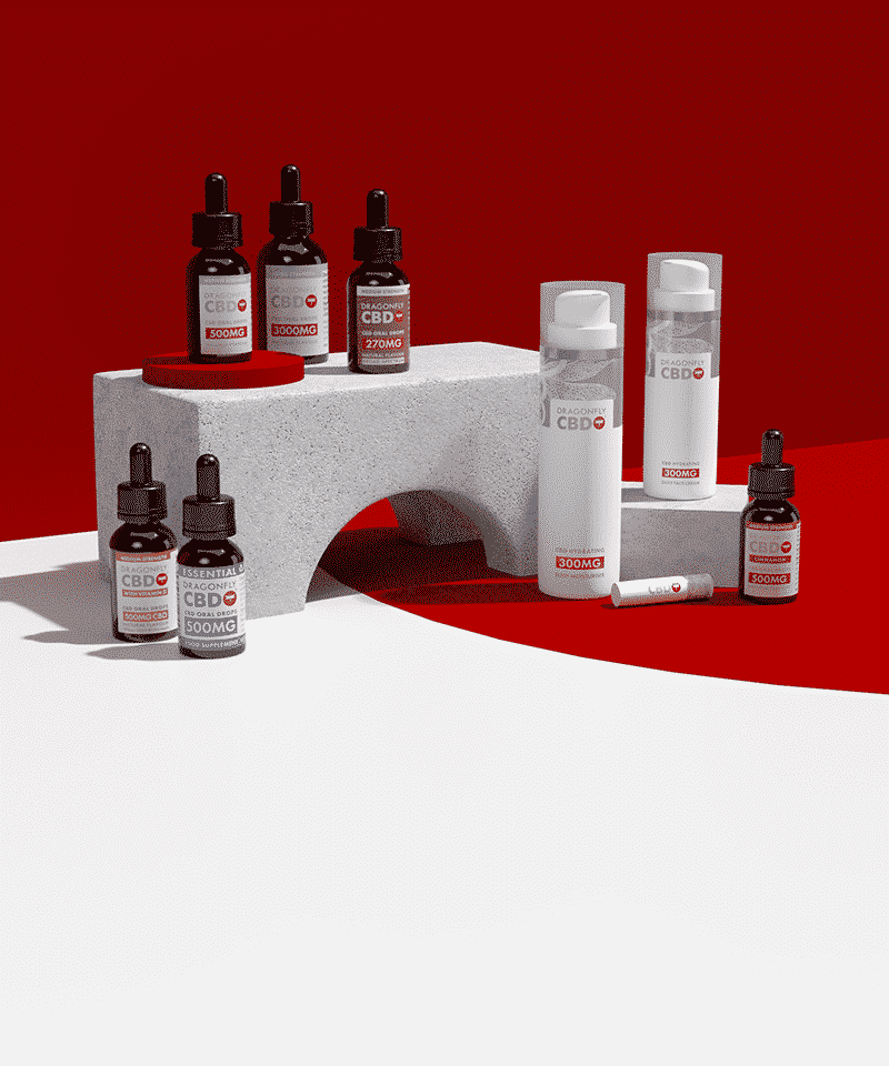 Dragonfly CBD Product Range on a red background
