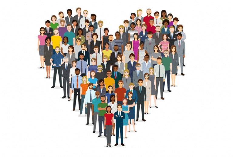 Crowd of people in the shape of a heart stock illustration