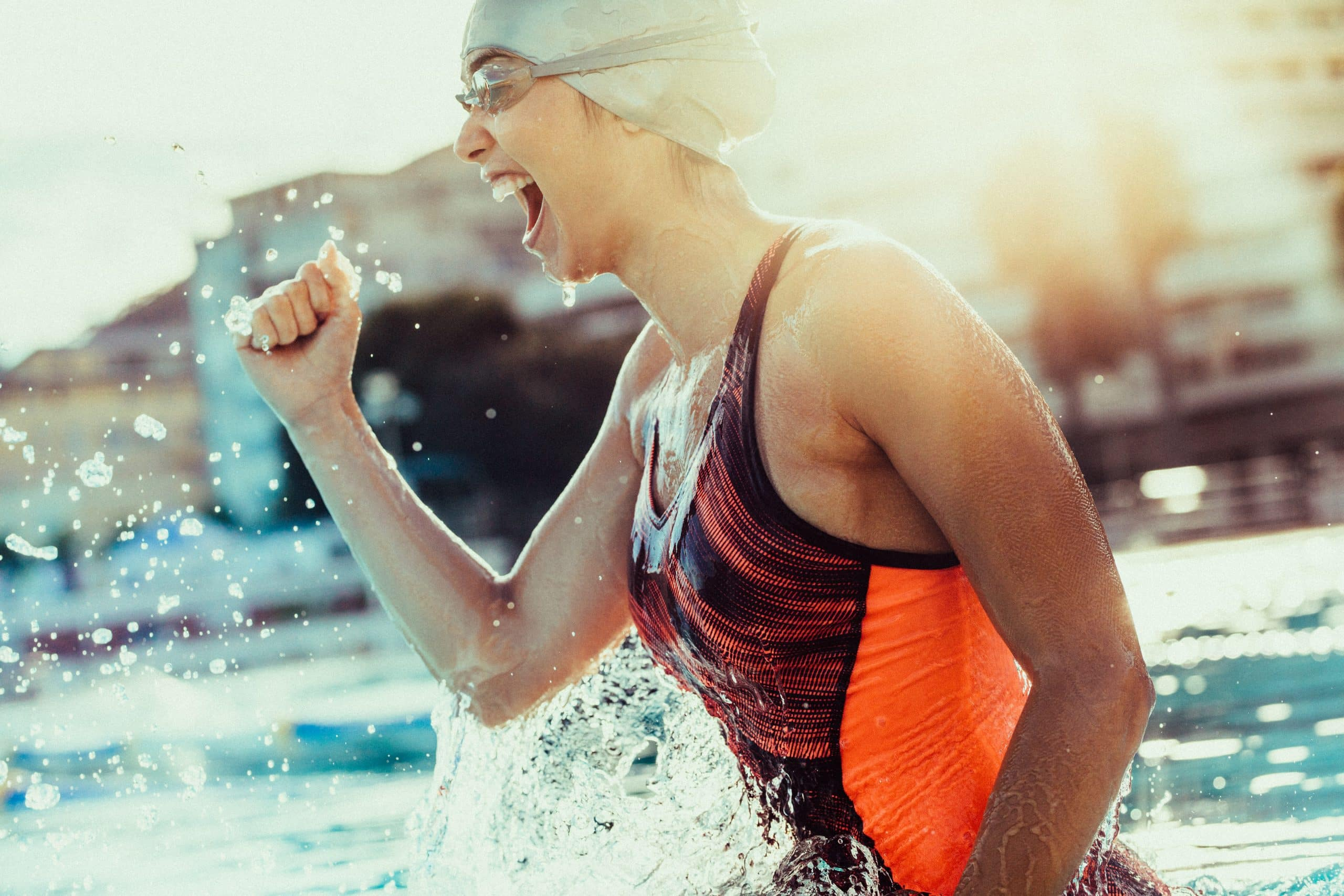 Swimmer Winning