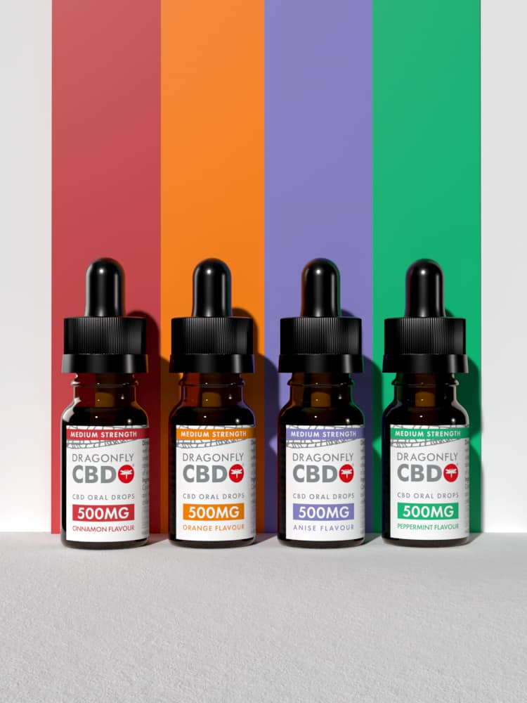 Flavoured Dragonfly CBD Oil 500mg Group